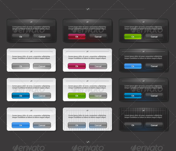 Set of colored panels with buttons - Web Elements Vectors