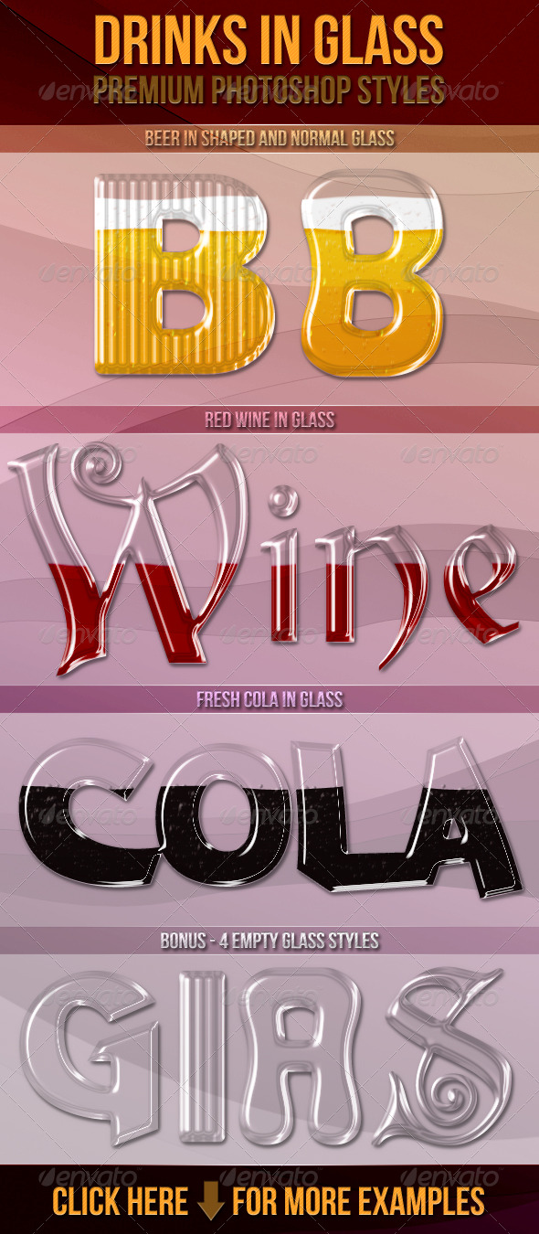 Drinks In Glass - Photoshop Styles - Text Effects Styles
