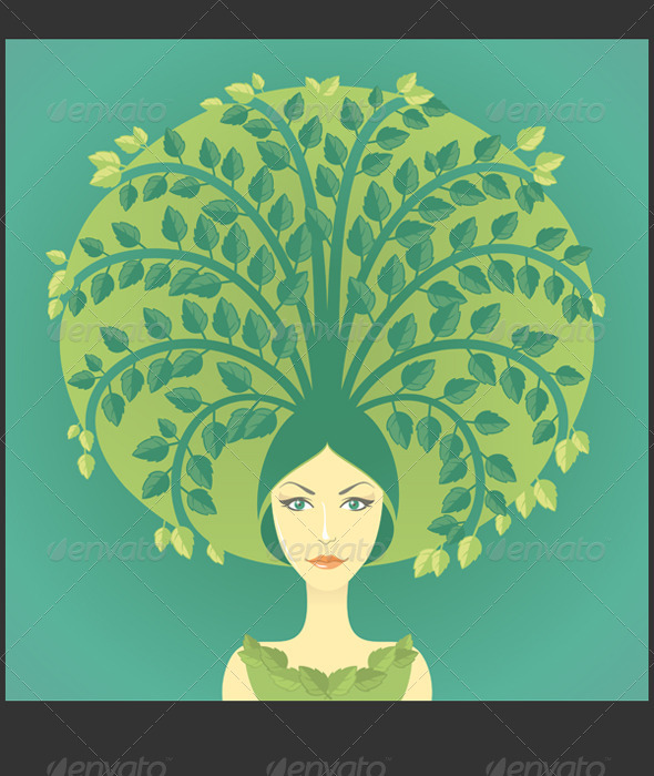 Woman With Tree - Health/Medicine Conceptual
