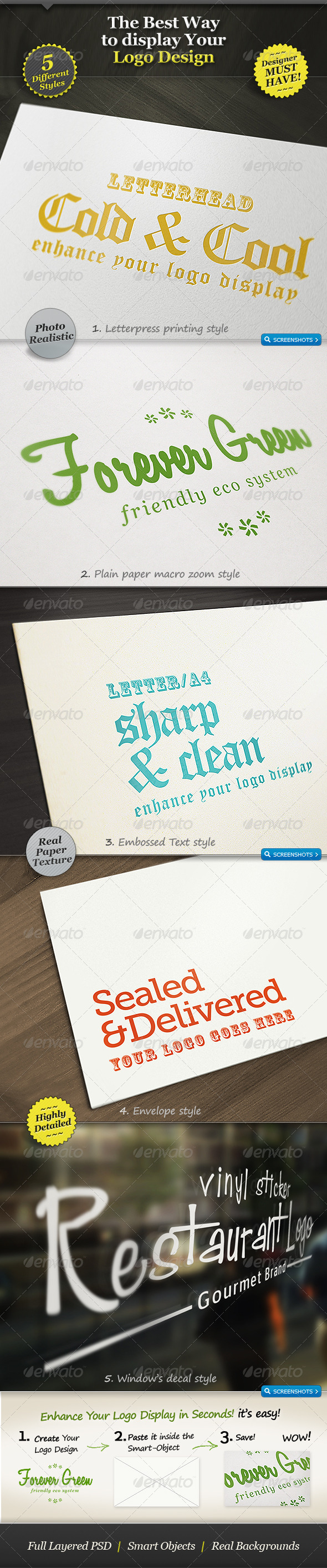5 Realistic Logo Mockups Smart Template Display