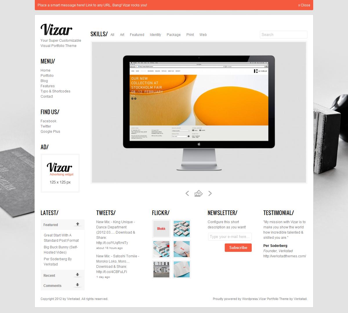 Vizar - Fully Customizable Visual Portfolio Theme