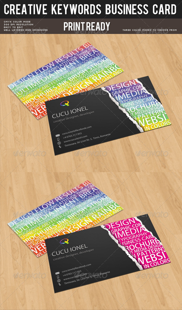 Creative Keywords Business Card - Creative Business Cards