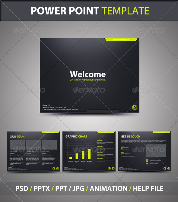 Stylish Black & Green PowerPoint Presentation Templates Designs
