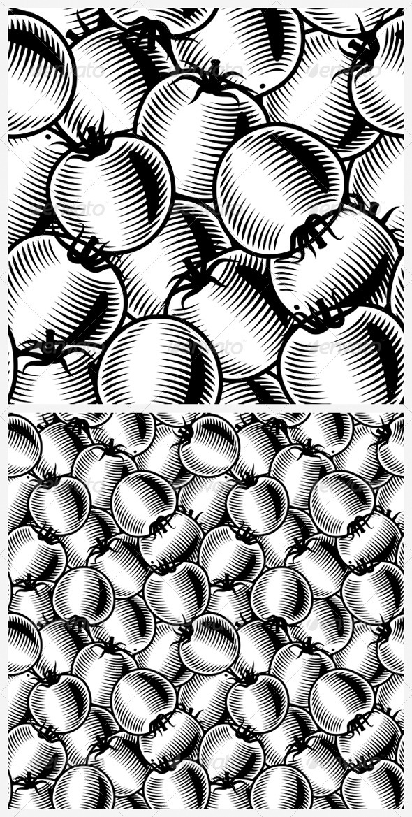 Seamless Tomato Background Black And White