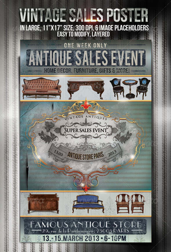 "11""x17"" Vintage Style Promotional Poster - Events Flyers"