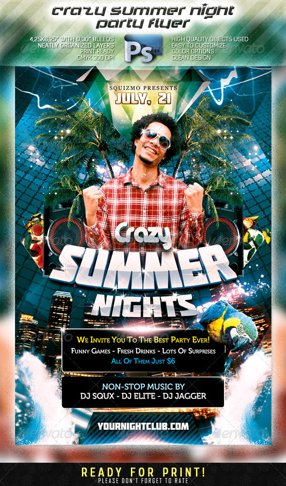 Crazy Summer Night Party Flyer - Clubs & Parties Events
