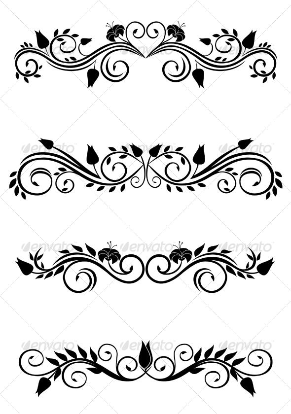 GraphicRiver Vintage floral decorations 80381