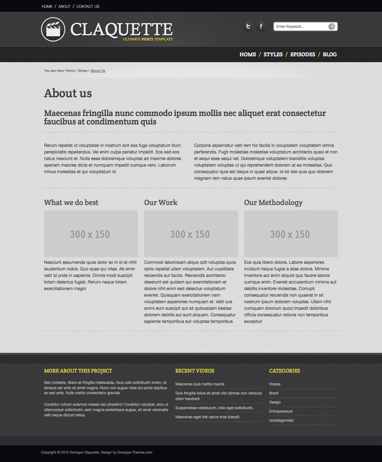 Doctype Claquette - Responsive Video HTML Template