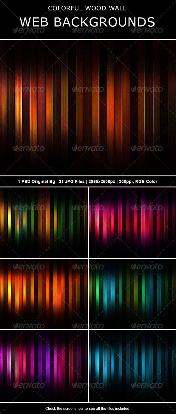 GraphicRiver Colorful Wood Wall Backgrounds 460026