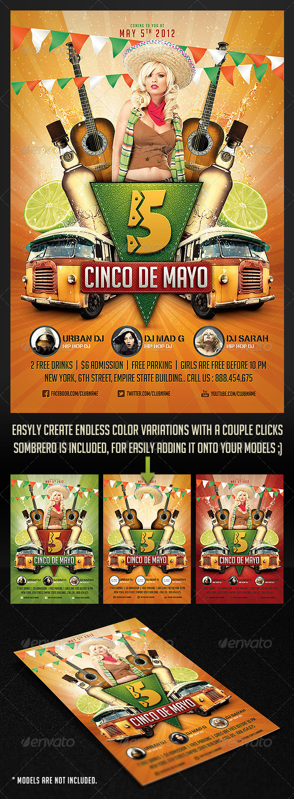 Graphic River Cinco de Mayo Party Flyer 2 Print Templates -  Flyers  Events  Holidays 2129568