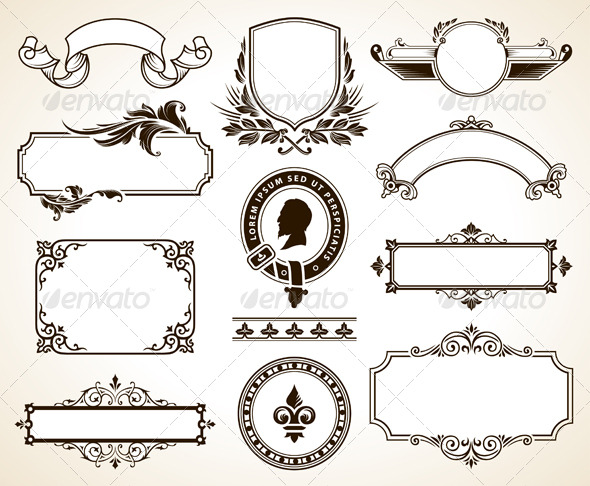 Vector set of ornate frames - Decorative Symbols Decorative