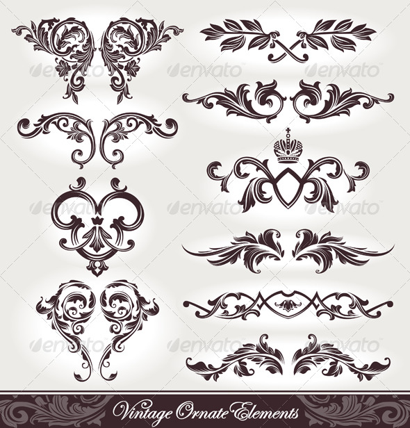 Vector set of calligraphic design elements - Flourishes / Swirls Decorative