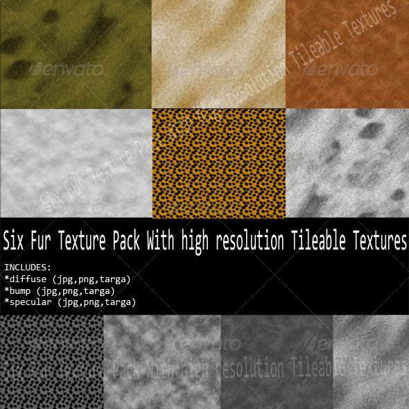 3DOcean Six different Fur Texture Pack 241501