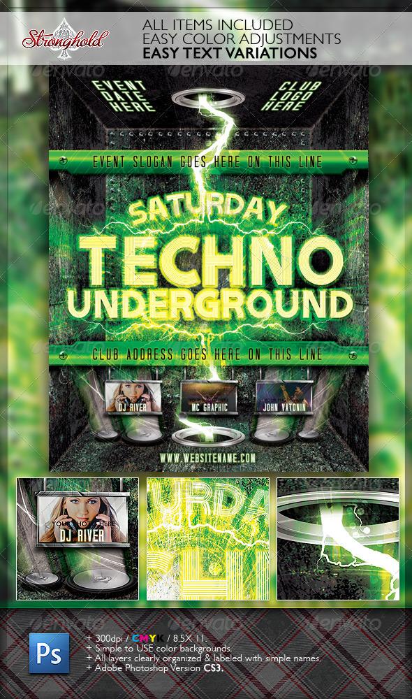 GraphicRiver Techno Event Flyer Template 2130573