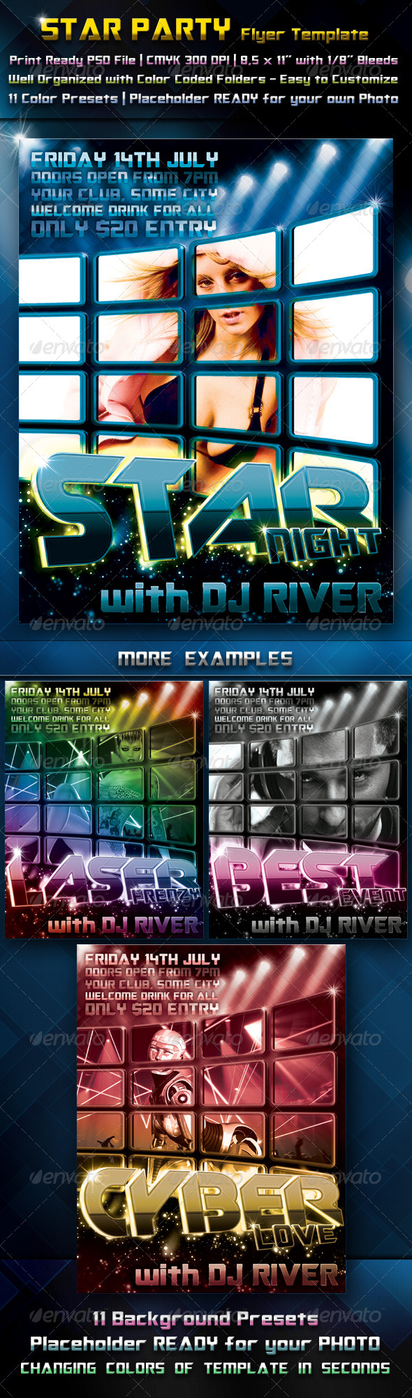 Star Party Flyer Template - Clubs & Parties Events