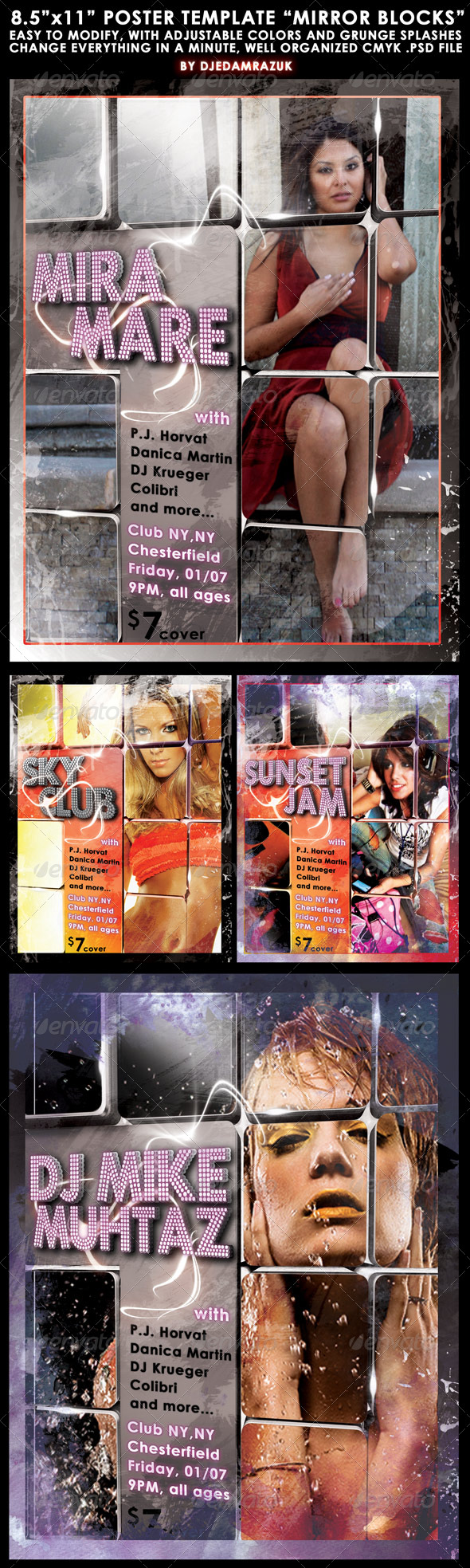 """8.5""""x11"""" Poster """"Mirror blocks"""" - Clubs & Parties Events"""