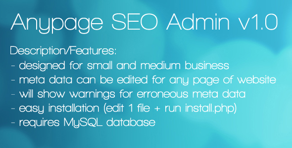 CodeCanyon Anypage SEO Admin 80468