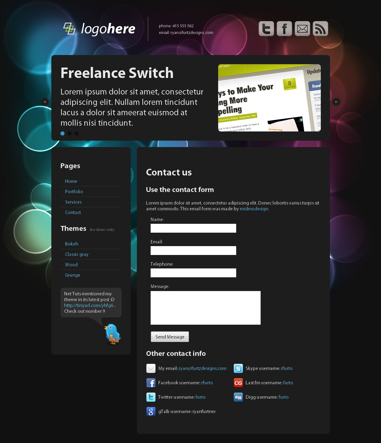 Dark 'n Clean - Business / Portfolio / Personal [HTML] - This is the contact page which includes a great and easy to set up contact form with some cool looking social network icons that are just as easy to set up!