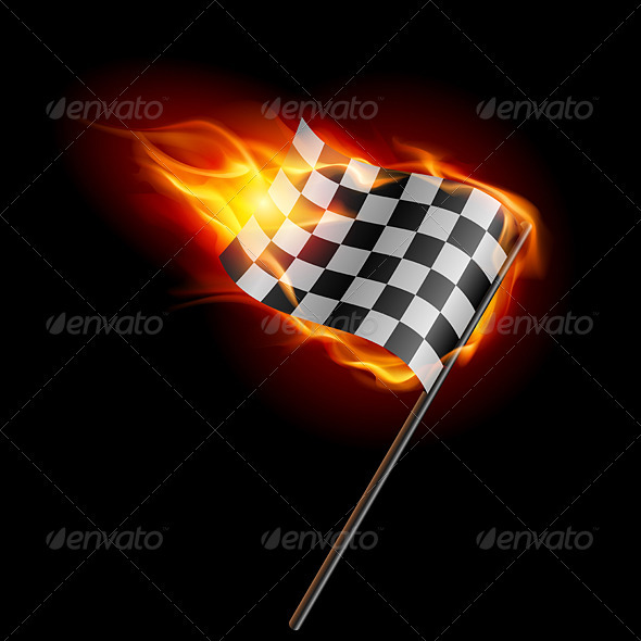 GraphicRiver Burning Checkered Racing Flag 2137563