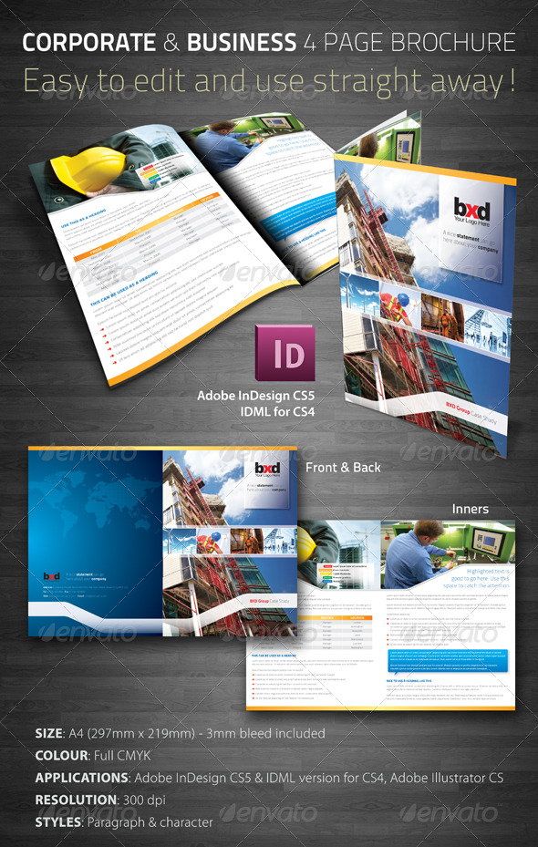 Corporate & Business 4 Page Brochure - Corporate Brochures