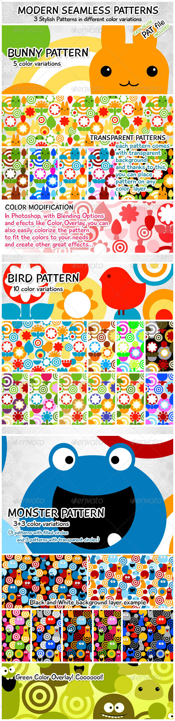 Modern Seamless Patterns – Bird, Bunny, Monster - Miscellaneous Textures / Fills / Patterns