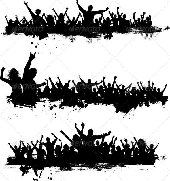 Crowd Silhouette Vector Crowds Silhouette Png Grunge