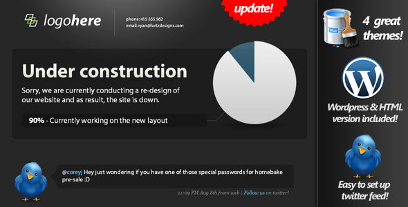 Under Construction page with twitter & pie graph! - This screenshot is small for the preview image. You should check out the next ones :D
