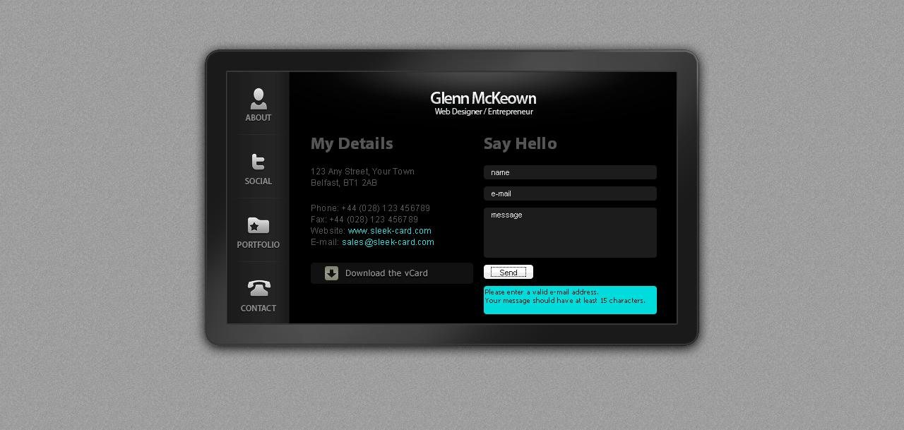 Plasma Card - A Virtual Business Card