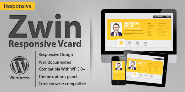ThemeForest Zwin Responsive vCard Wordpress Theme 2134726