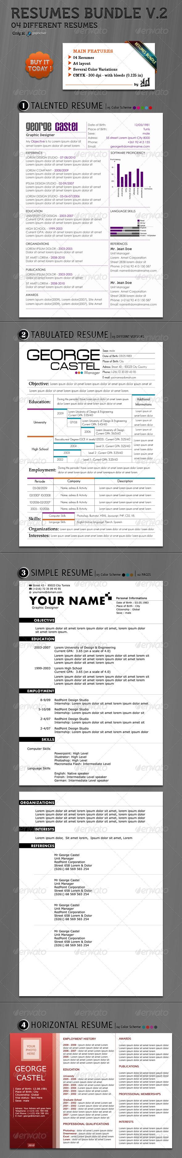 Resumes Bundle V.2 (4 in 1)  - Resumes Stationery