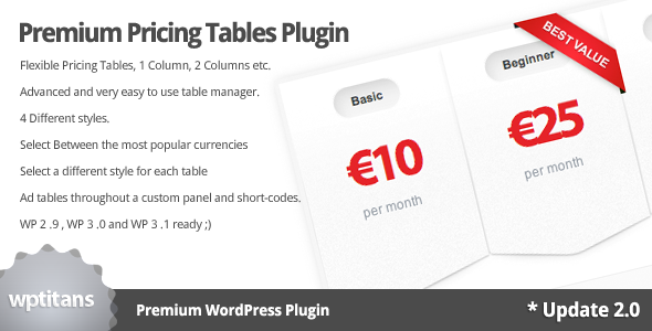 CodeCanyon Premium Pricing Tables Plugin 163730