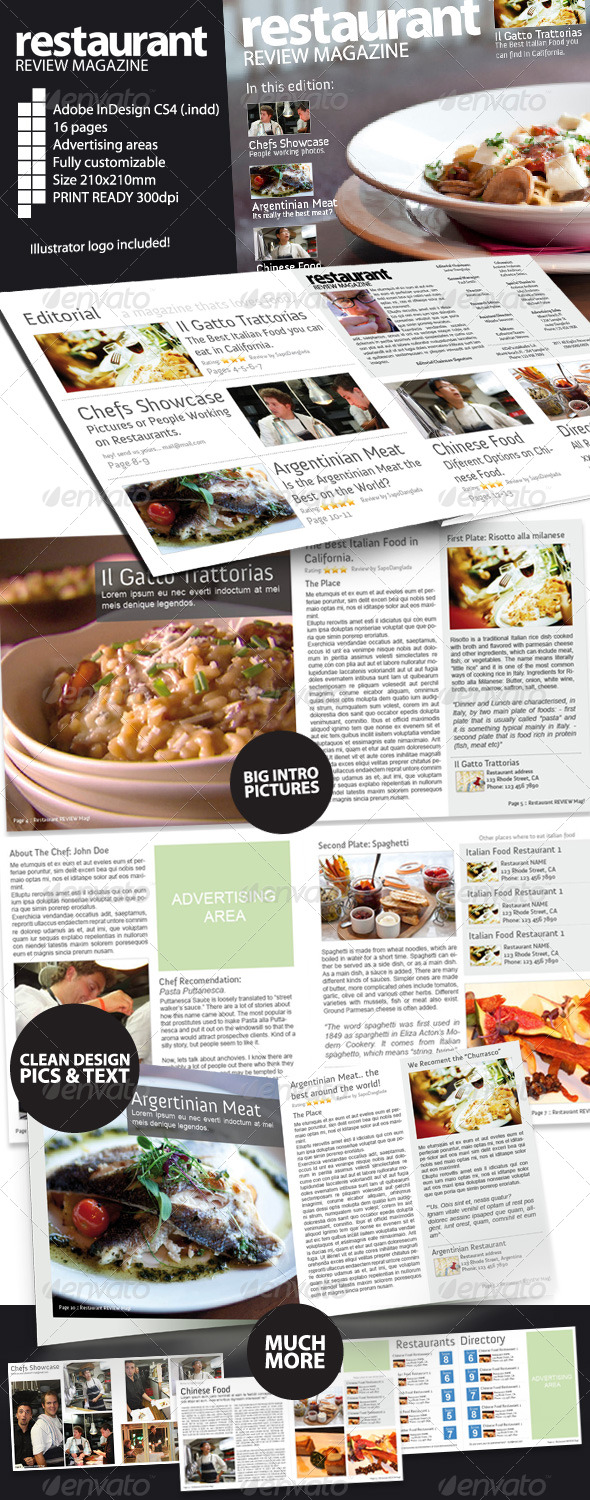 restaurant review magazine indesign cs4 graphicriver. Black Bedroom Furniture Sets. Home Design Ideas