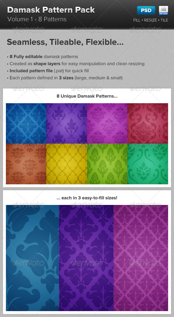 Damask Pattern Backgrounds - Miscellaneous Textures / Fills / Patterns