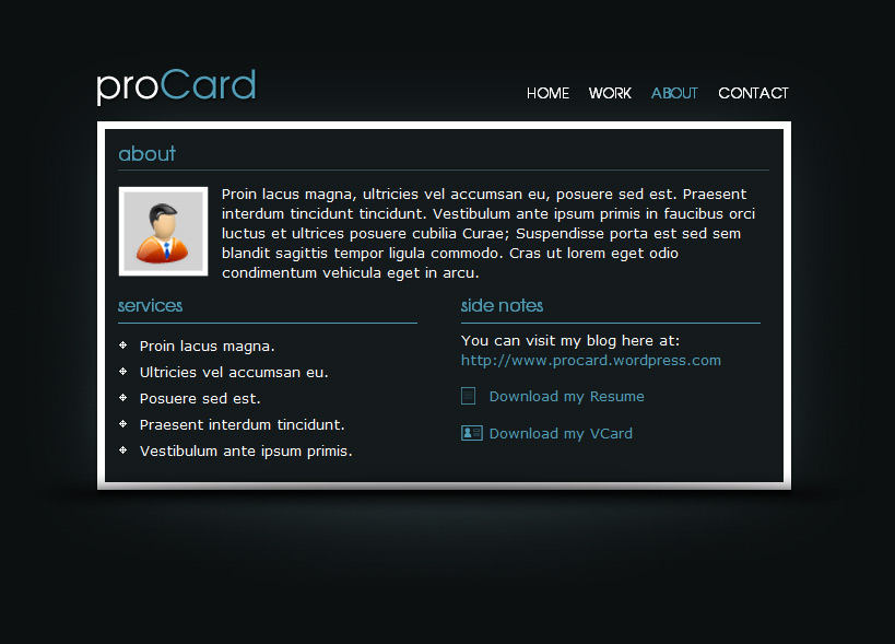 proCard HTML Template