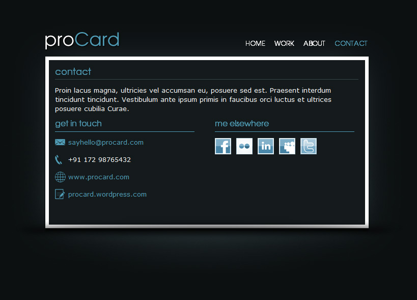 proCard HTML Template