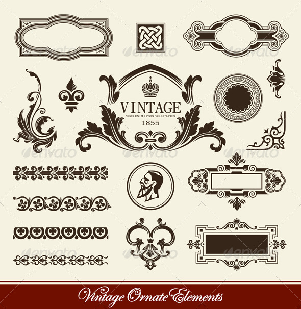 GraphicRiver Vector set of calligraphic design elements 244099