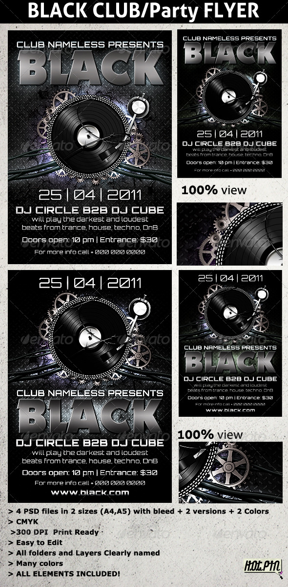 Black PARTY/CLUB flyers template - Clubs & Parties Events
