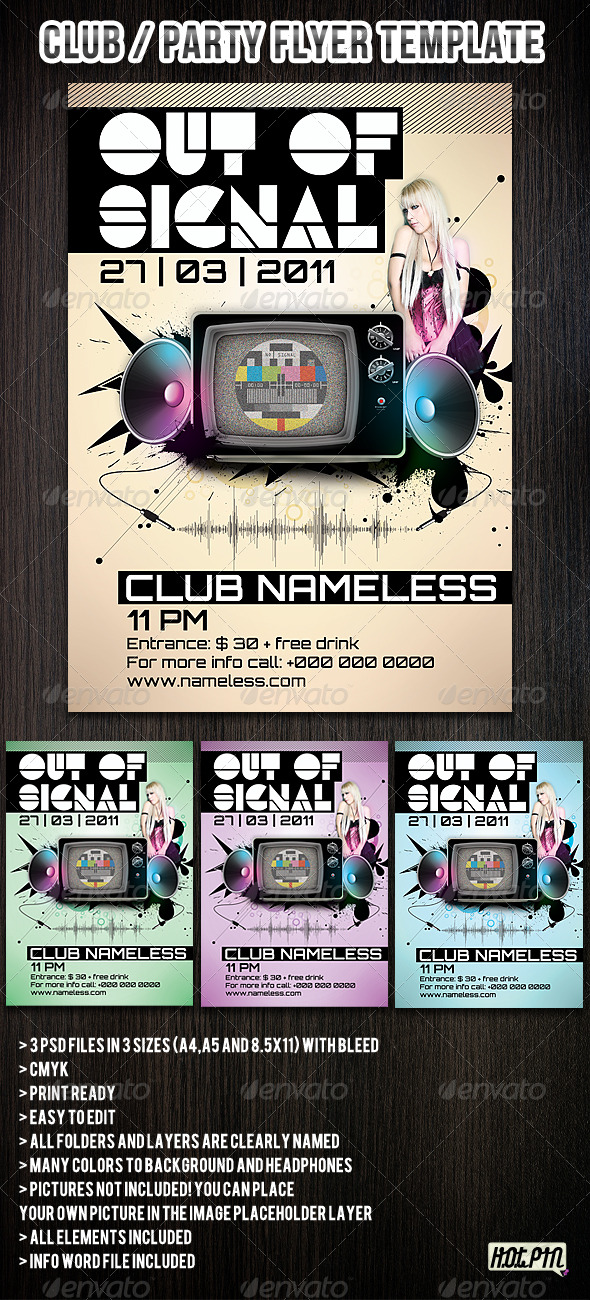 GraphicRiver Colorful Club Party Flyers Template 179172
