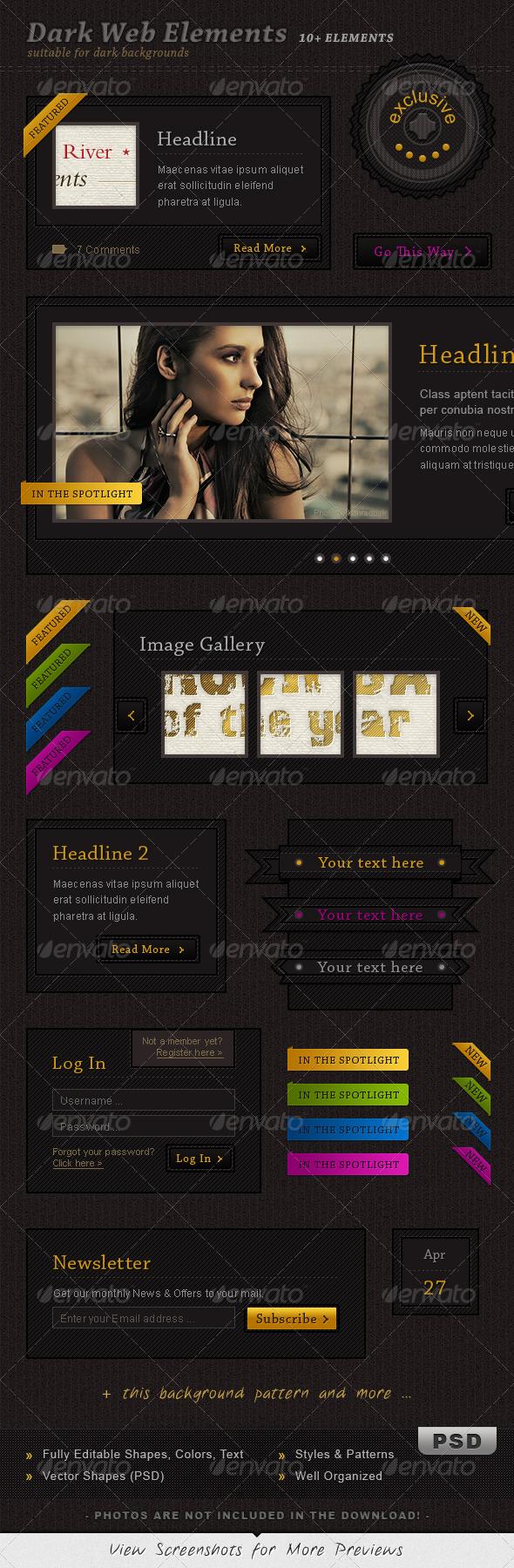 GraphicRiver Dark Web Elements 244354