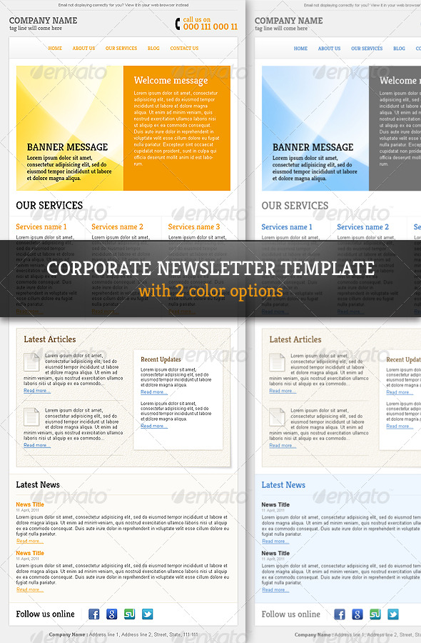 corporate professional email newsletter template e newsletters web
