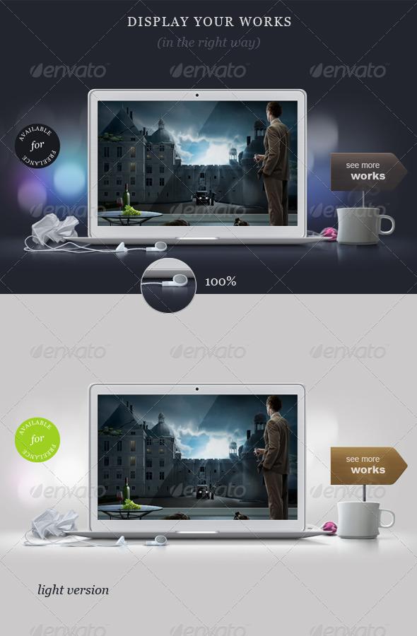 Designer's Desk Portfolio Concept - Laptop Displays