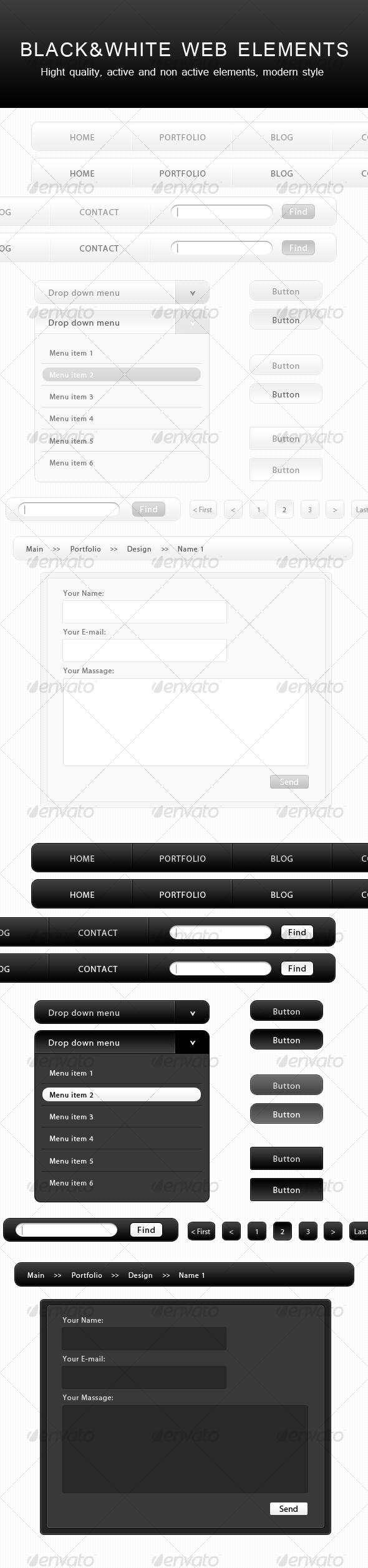 GraphicRiver Black&White WEB Elements 52878