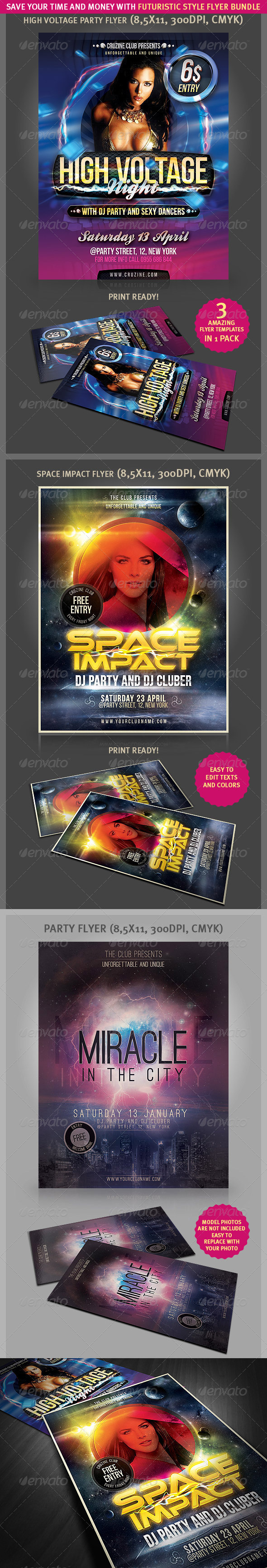 Futuristic Style Flyer Bundle - Clubs & Parties Events