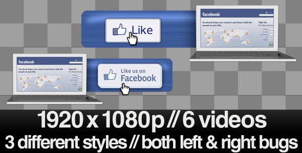 VideoHive Facebook Like Us Lower 3rd Bug 3 Styles With Alpha 2161695