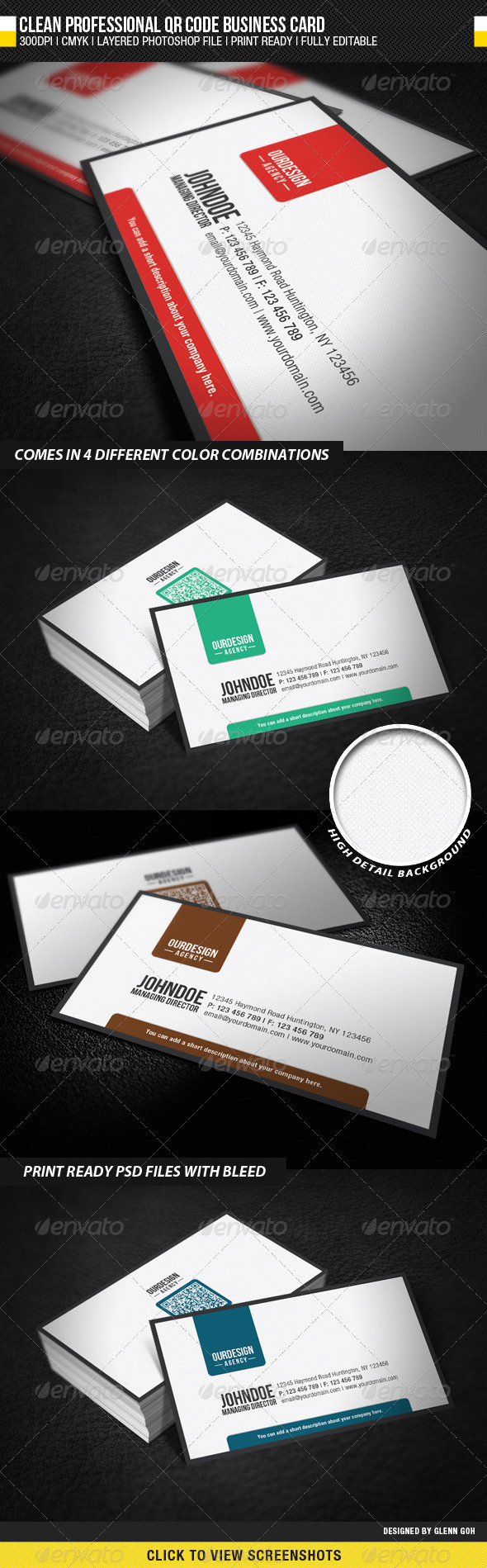 Clean Professional QR Code Business Card - Business Cards Print Templates