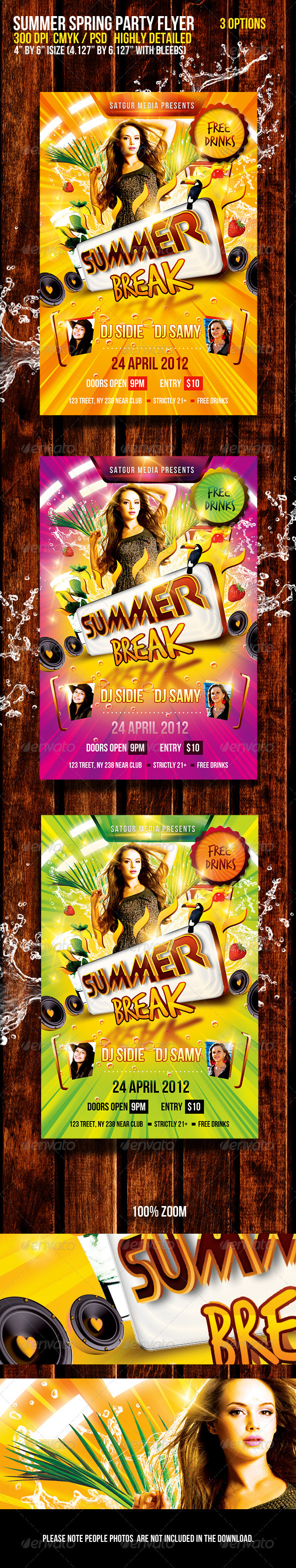 Summer Spring Break Music Dance Party Flyer - Flyers Print Templates