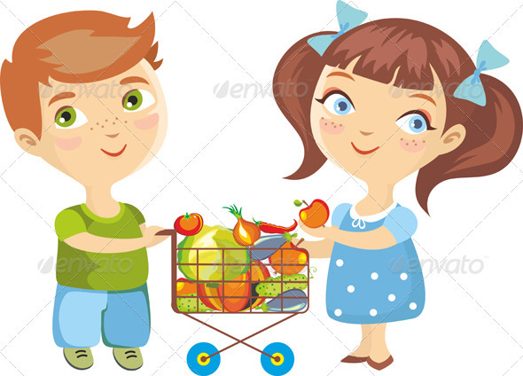 Children Purchase Vegetables Isolated