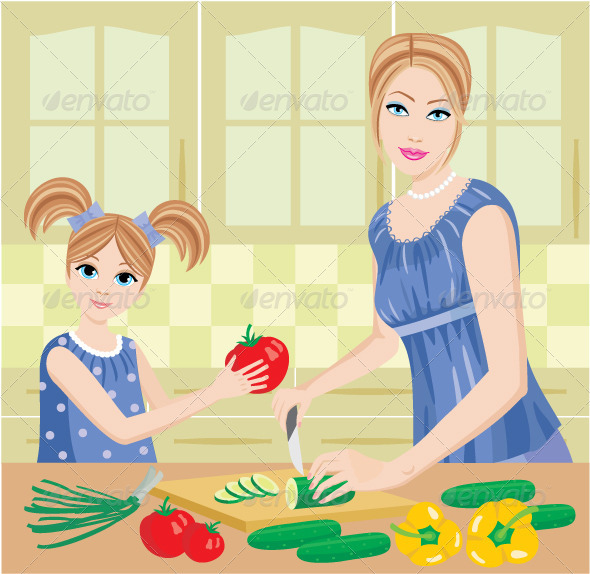 Daughter Helps Mum to Prepare Food