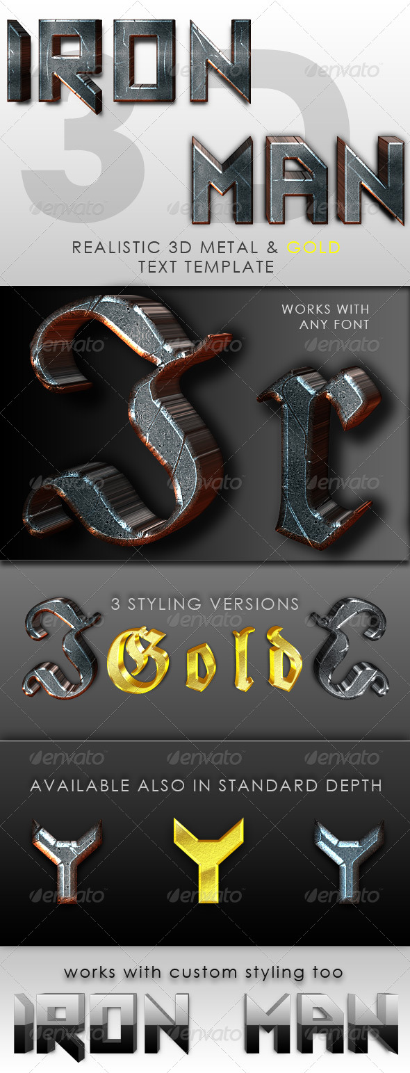 GraphicRiver Iron Man 3D Text Template 245410