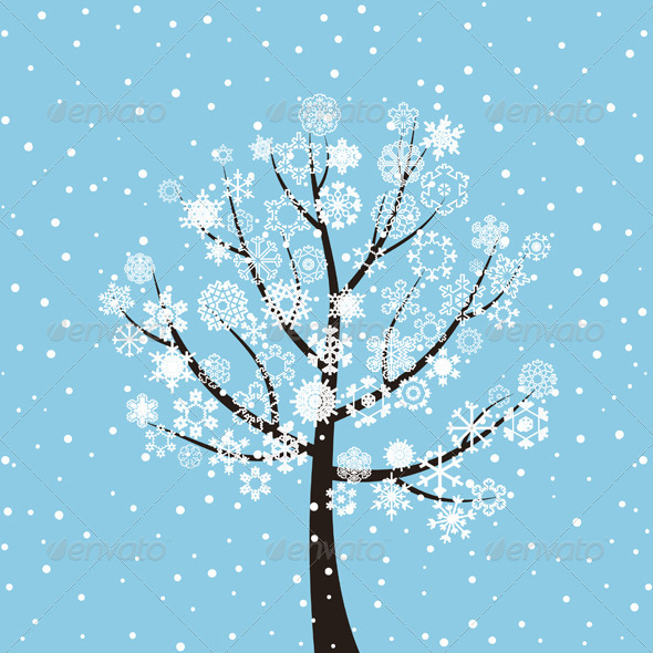 Winter tree on a dark blue background a vector illustration eps file